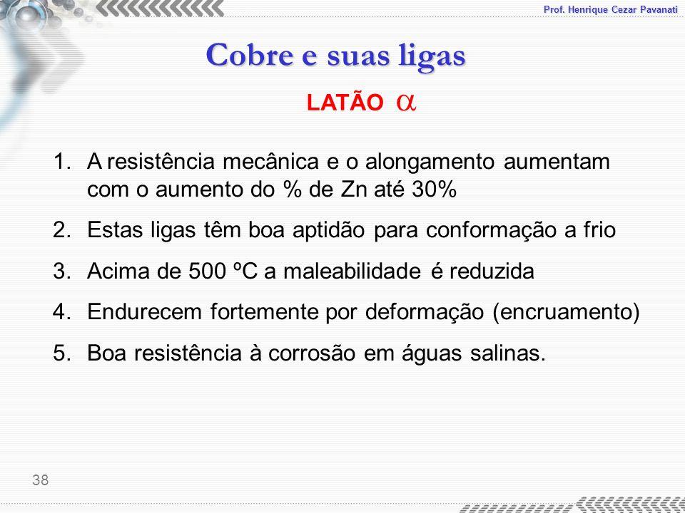 Prof. Henrique Cezar Pavanati Cobre e suas ligas 38 LATÃO 1.A resistência mecânica e o alongamento aumentam com o aumento do % de Zn até 30% 2.Estas l