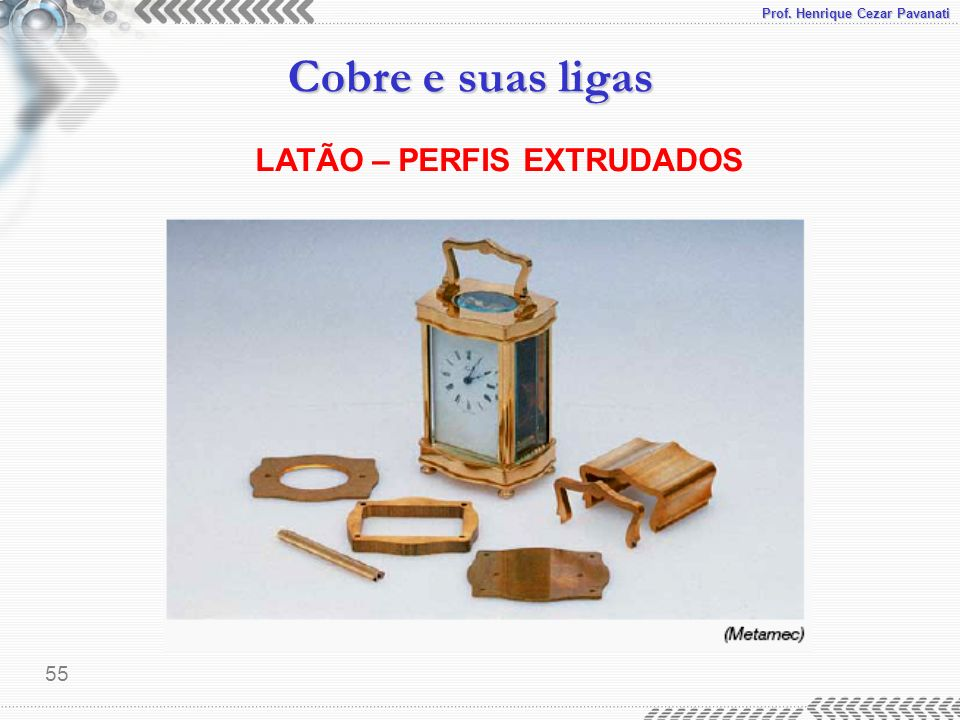 Prof. Henrique Cezar Pavanati Cobre e suas ligas 55 LATÃO – PERFIS EXTRUDADOS