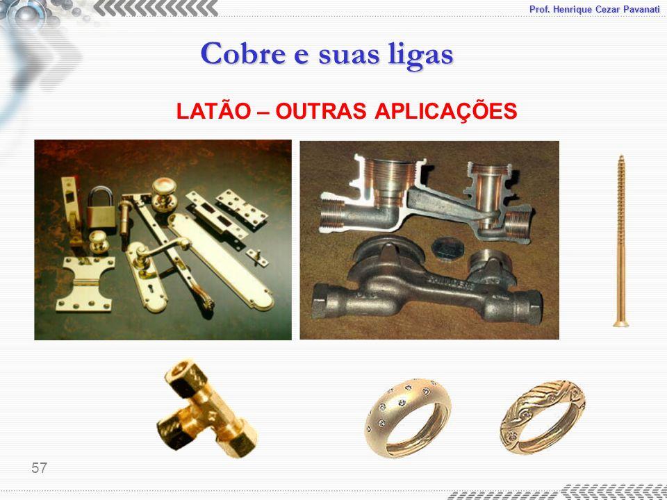 Prof. Henrique Cezar Pavanati Cobre e suas ligas 57 LATÃO – OUTRAS APLICAÇÕES