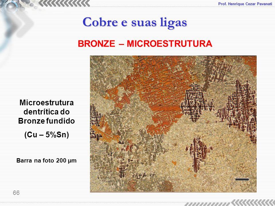 Prof. Henrique Cezar Pavanati Cobre e suas ligas 66 Microestrutura dentrítica do Bronze fundido (Cu – 5%Sn) Barra na foto 200 µm BRONZE – MICROESTRUTU