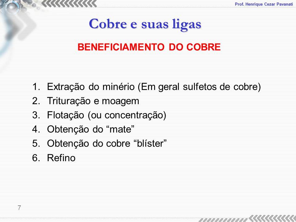 Prof. Henrique Cezar Pavanati Cobre e suas ligas 7 BENEFICIAMENTO DO COBRE 1.Extração do minério (Em geral sulfetos de cobre) 2.Trituração e moagem 3.