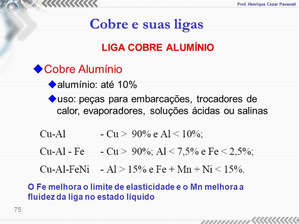 Prof. Henrique Cezar Pavanati Cobre e suas ligas 75 uCobre Alumínio ualumínio: até 10% uuso: peças para embarcações, trocadores de calor, evaporadores