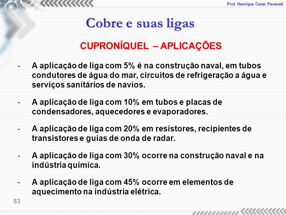 Prof. Henrique Cezar Pavanati Cobre e suas ligas 83 -A aplicação de liga com 5% é na construção naval, em tubos condutores de água do mar, circuitos d