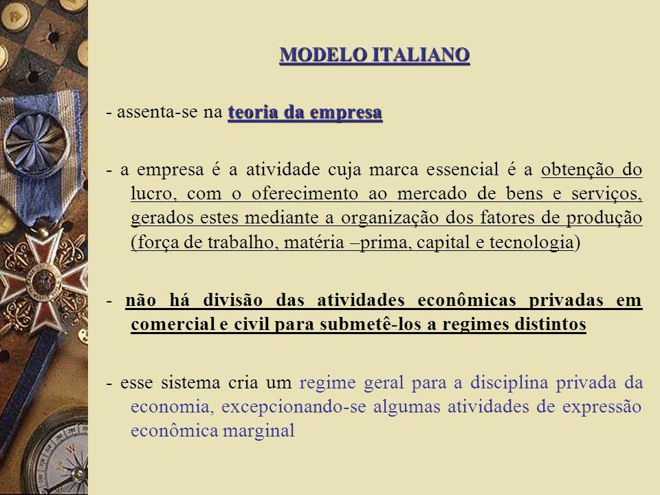 MODELO ITALIANO teoria da empresa - assenta-se na teoria da empresa - a empresa é a atividade cuja marca essencial é a obtenção do lucro, com o oferec