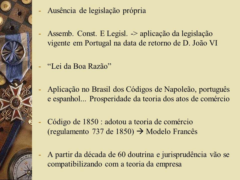 -Ausência de legislação própria -Assemb. Const. E Legisl. -> aplicação da legislação vigente em Portugal na data de retorno de D. João VI -Lei da Boa