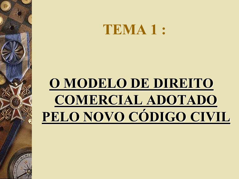 TEMA 1 : O MODELO DE DIREITO COMERCIAL ADOTADO PELO NOVO CÓDIGO CIVIL