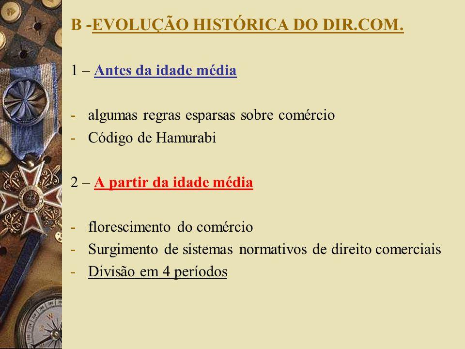 B -EVOLUÇÃO HISTÓRICA DO DIR.COM. 1 – Antes da idade média -algumas regras esparsas sobre comércio -Código de Hamurabi 2 – A partir da idade média -fl