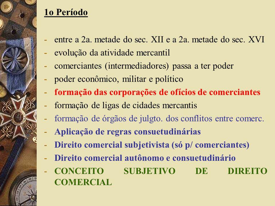 1o Período -entre a 2a. metade do sec. XII e a 2a. metade do sec. XVI -evolução da atividade mercantil -comerciantes (intermediadores) passa a ter pod