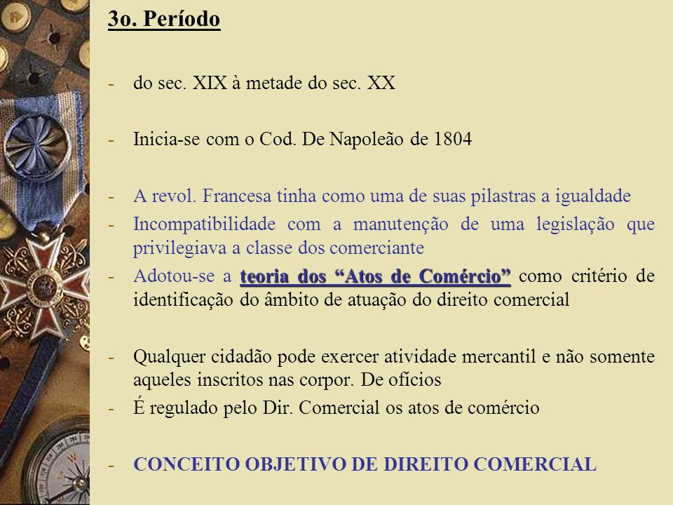 4o período -a partir da segunda metade do século XX -Teve como marco o Código Civil de 1942 -CC Italiano reúne numa única lei, as normas de direito privado (dir.