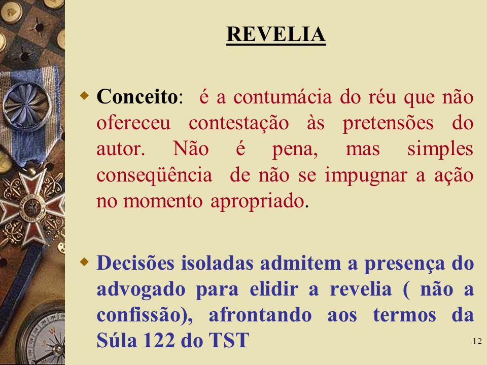 12 REVELIA Conceito: é a contumácia do réu que não ofereceu contestação às pretensões do autor. Não é pena, mas simples conseqüência de não se impugna