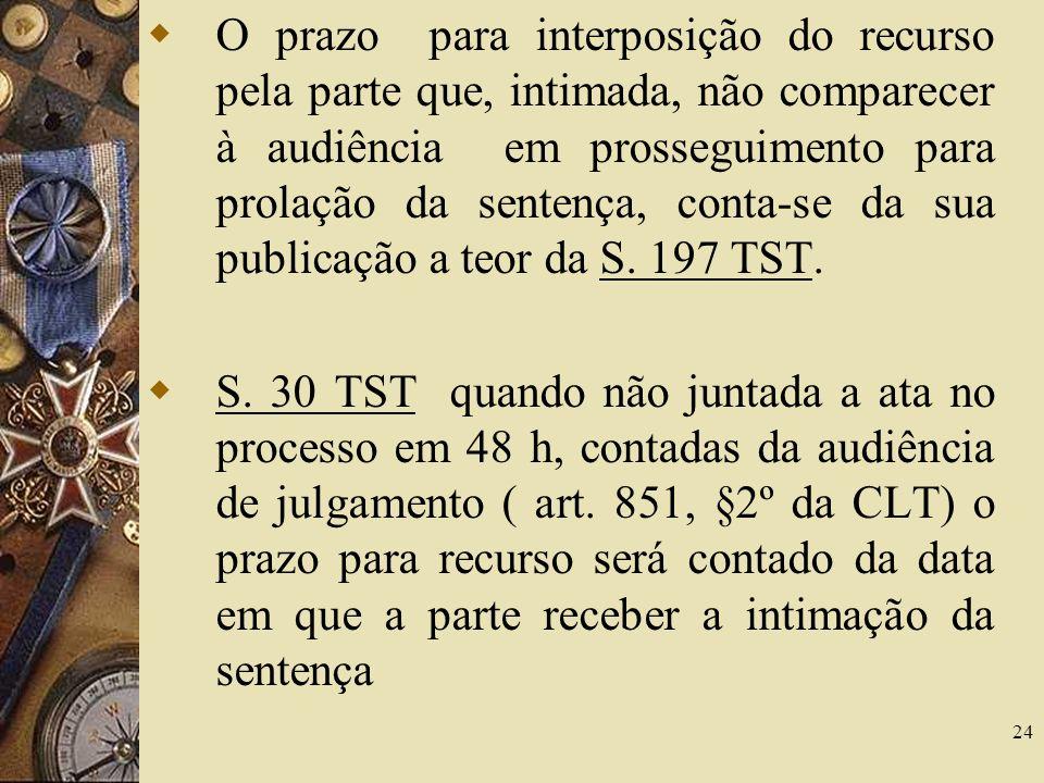 24 O prazo para interposição do recurso pela parte que, intimada, não comparecer à audiência em prosseguimento para prolação da sentença, conta-se da