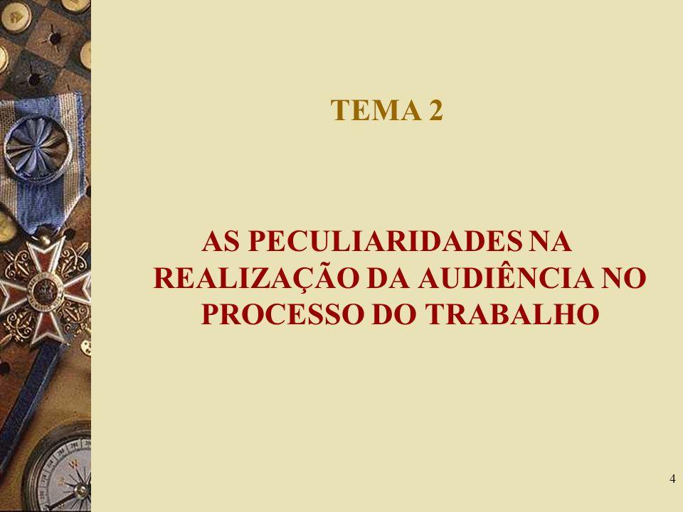 4 TEMA 2 AS PECULIARIDADES NA REALIZAÇÃO DA AUDIÊNCIA NO PROCESSO DO TRABALHO