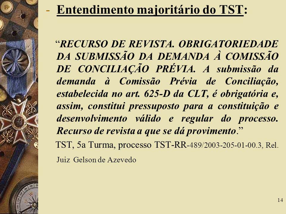 14 -Entendimento majoritário do TST: RECURSO DE REVISTA.