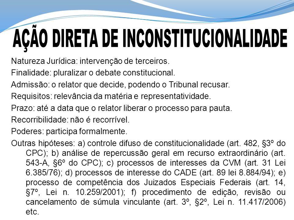 Natureza Jurídica: intervenção de terceiros.Finalidade: pluralizar o debate constitucional.