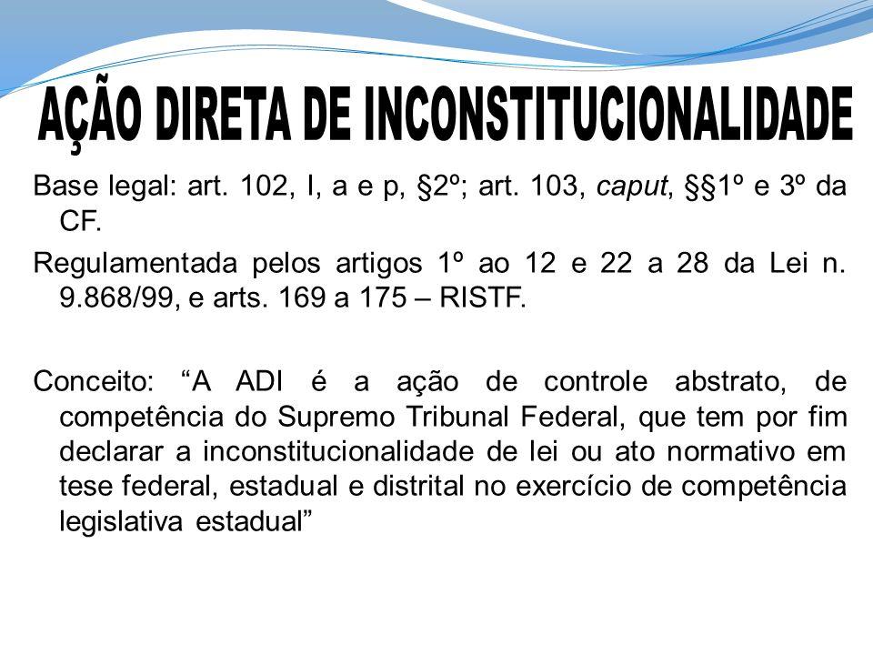 Base legal: art. 102, I, a e p, §2º; art. 103, caput, §§1º e 3º da CF. Regulamentada pelos artigos 1º ao 12 e 22 a 28 da Lei n. 9.868/99, e arts. 169