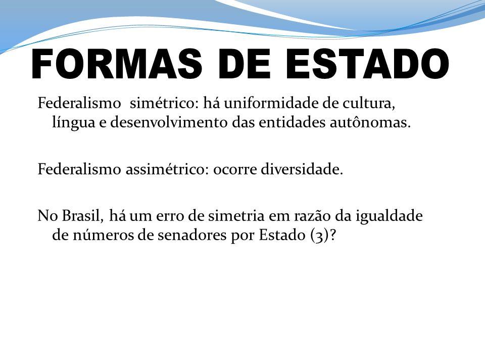 Federalismo simétrico: há uniformidade de cultura, língua e desenvolvimento das entidades autônomas.
