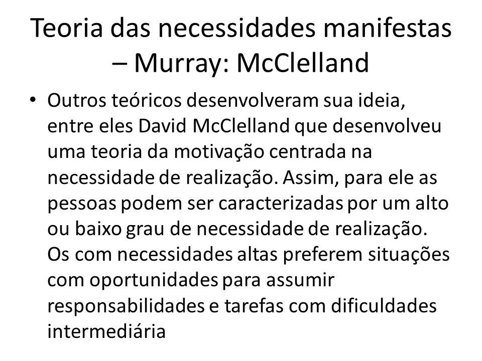 Teoria das necessidades manifestas – Murray: McClelland Outros teóricos desenvolveram sua ideia, entre eles David McClelland que desenvolveu uma teori