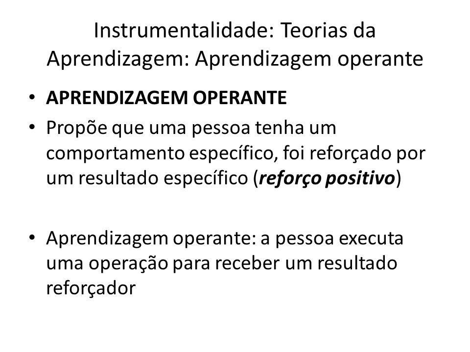 Instrumentalidade: Teorias da Aprendizagem: Aprendizagem operante APRENDIZAGEM OPERANTE Propõe que uma pessoa tenha um comportamento específico, foi r