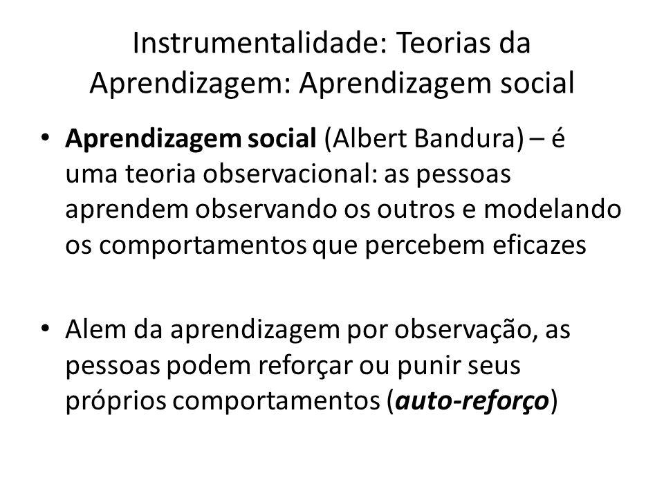 Instrumentalidade: Teorias da Aprendizagem: Aprendizagem social Aprendizagem social (Albert Bandura) – é uma teoria observacional: as pessoas aprendem