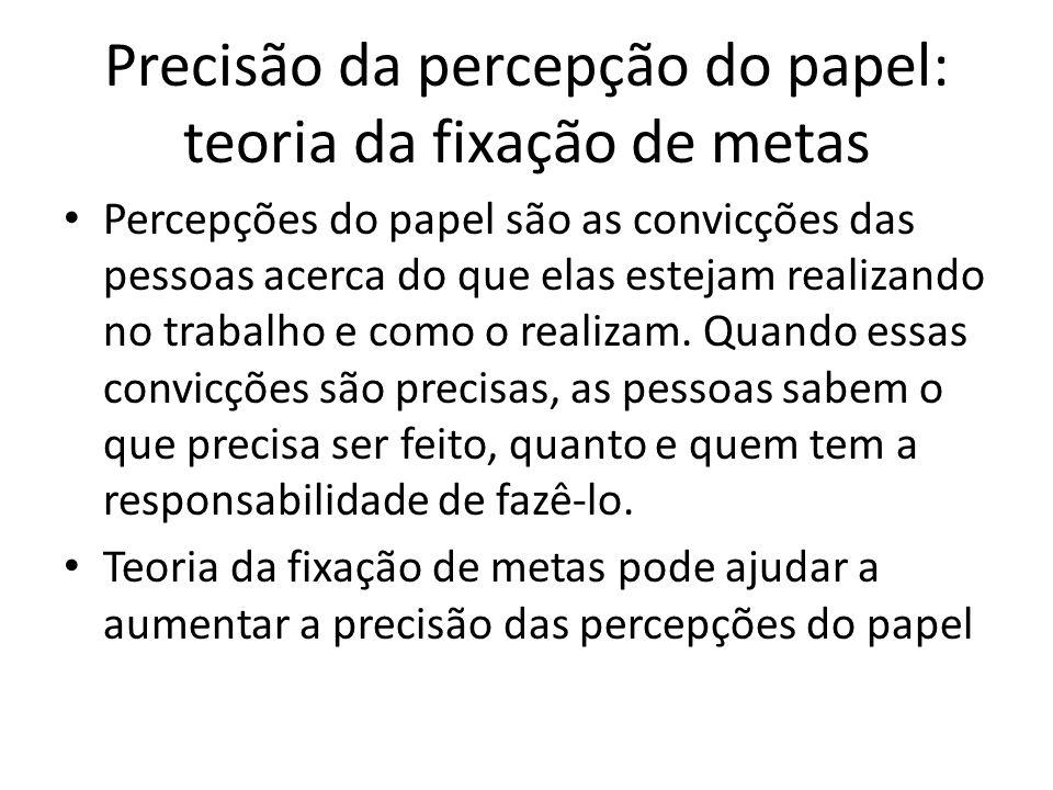 Precisão da percepção do papel: teoria da fixação de metas Percepções do papel são as convicções das pessoas acerca do que elas estejam realizando no