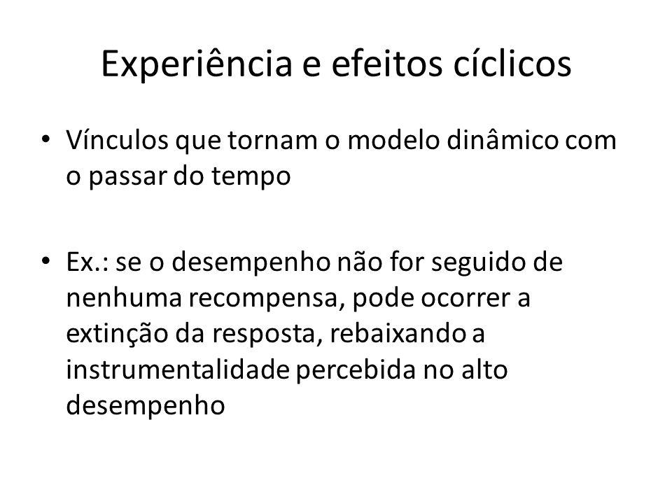 Experiência e efeitos cíclicos Vínculos que tornam o modelo dinâmico com o passar do tempo Ex.: se o desempenho não for seguido de nenhuma recompensa,