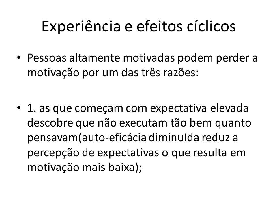 Experiência e efeitos cíclicos Pessoas altamente motivadas podem perder a motivação por um das três razões: 1. as que começam com expectativa elevada