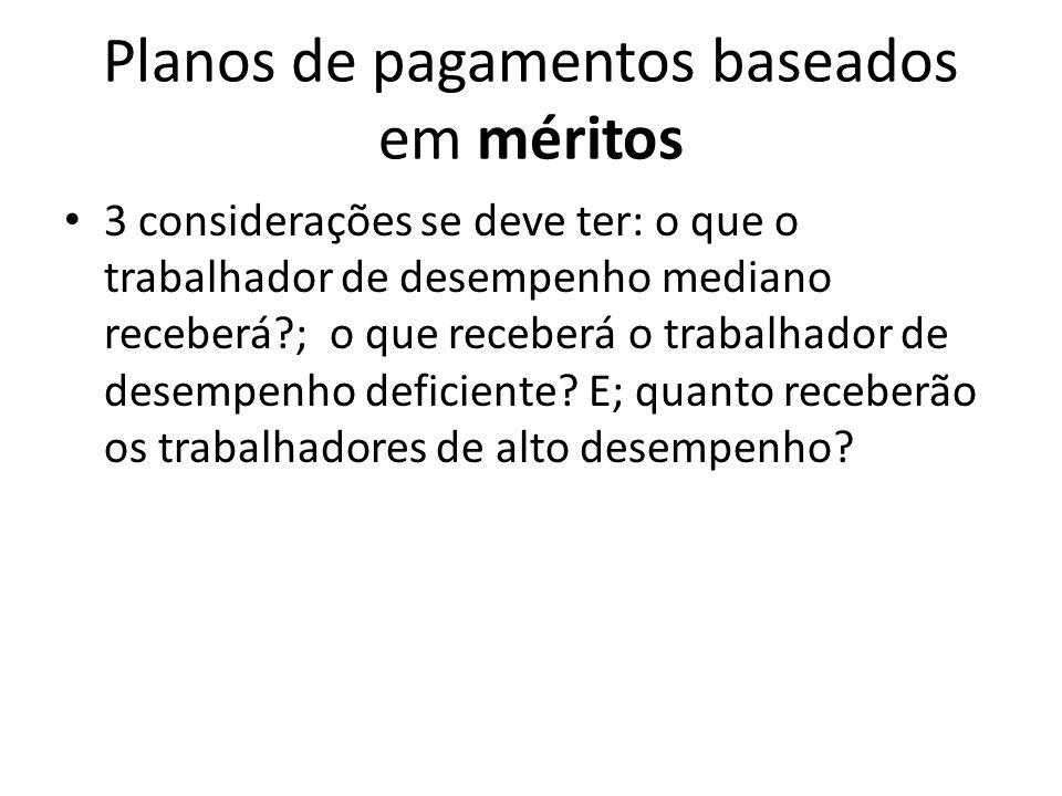 Planos de pagamentos baseados em méritos 3 considerações se deve ter: o que o trabalhador de desempenho mediano receberá?; o que receberá o trabalhado