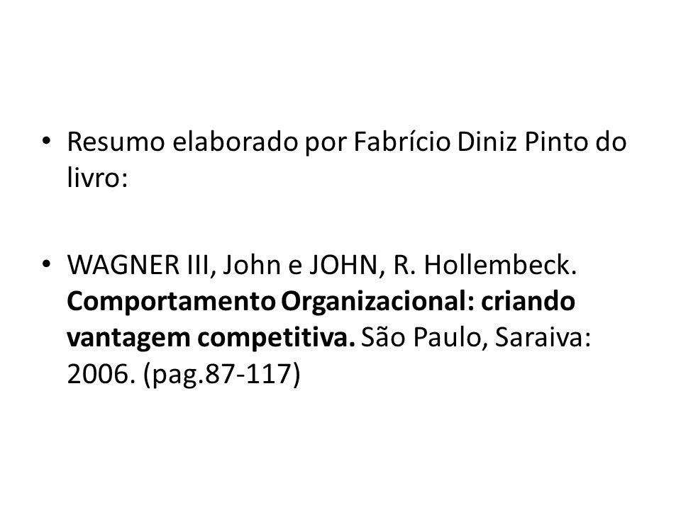 Resumo elaborado por Fabrício Diniz Pinto do livro: WAGNER III, John e JOHN, R. Hollembeck. Comportamento Organizacional: criando vantagem competitiva