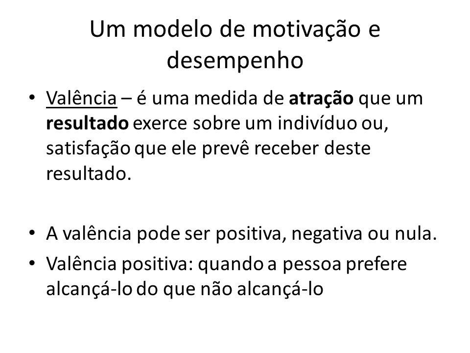 Um modelo de motivação e desempenho Valência – é uma medida de atração que um resultado exerce sobre um indivíduo ou, satisfação que ele prevê receber