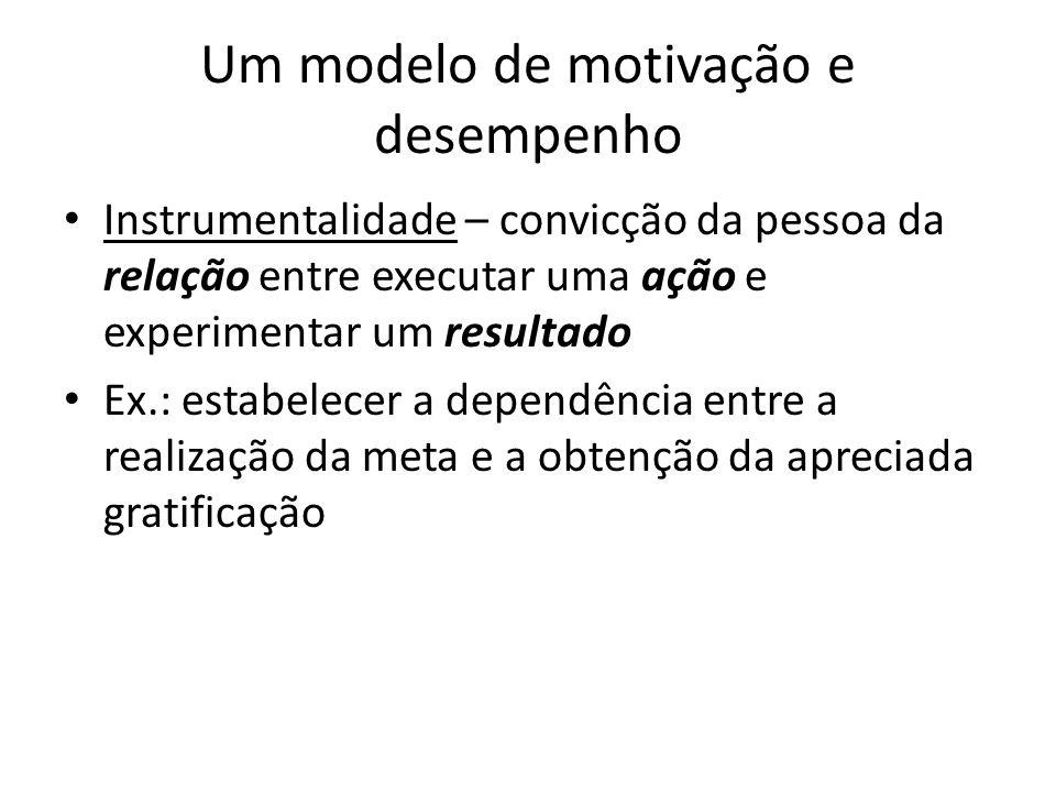 Um modelo de motivação e desempenho Instrumentalidade – convicção da pessoa da relação entre executar uma ação e experimentar um resultado Ex.: estabe