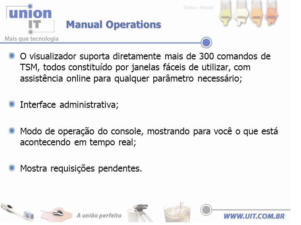 Manual Operations O visualizador suporta diretamente mais de 300 comandos de TSM, todos constituído por janelas fáceis de utilizar, com assistência on