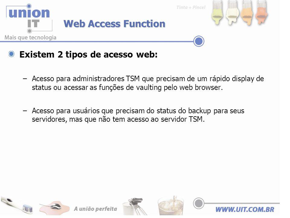 Web Access Function Existem 2 tipos de acesso web: –Acesso para administradores TSM que precisam de um rápido display de status ou acessar as funções