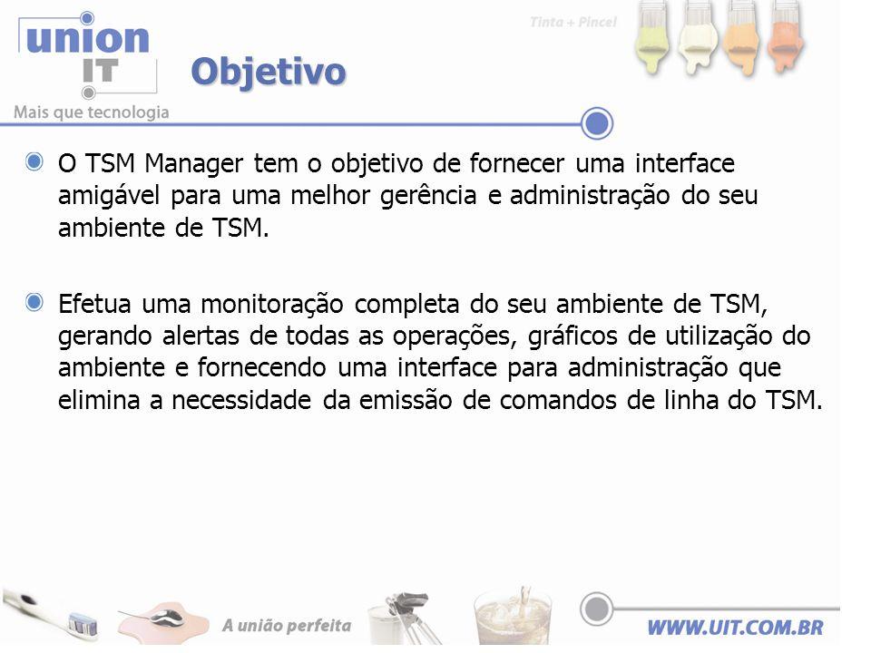 Comparativos características do TSM Nativo x TSM Manager TSM NativoTSM Manager Geração de relatórios Scripts SQL Planilhas Excel Relatórios nativos em pdf, xml e xls.
