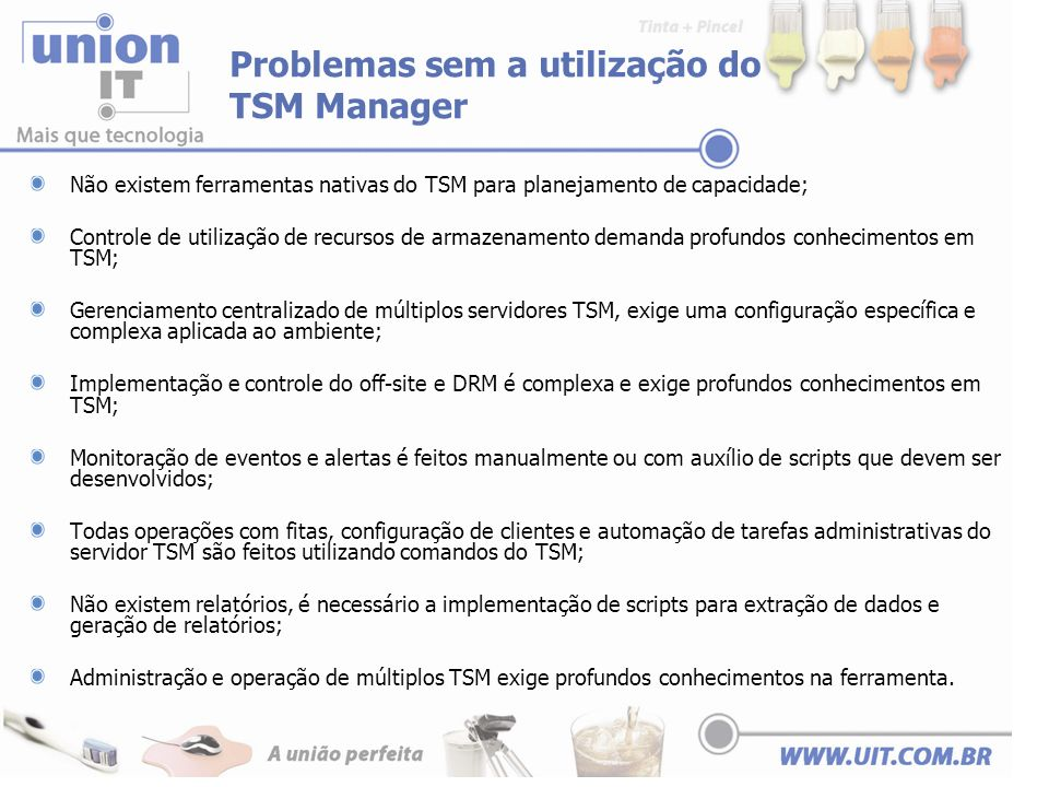 Problemas sem a utilização do TSM Manager Não existem ferramentas nativas do TSM para planejamento de capacidade; Controle de utilização de recursos d
