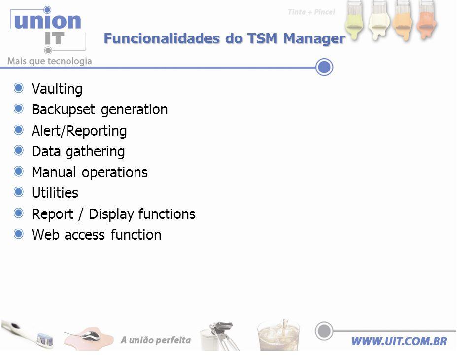 Funcionalidades do TSM Manager Vaulting Backupset generation Alert/Reporting Data gathering Manual operations Utilities Report / Display functions Web