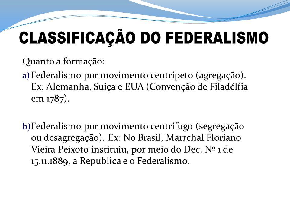 Quanto a formação: a) Federalismo por movimento centrípeto (agregação). Ex: Alemanha, Suíça e EUA (Convenção de Filadélfia em 1787). b) Federalismo po