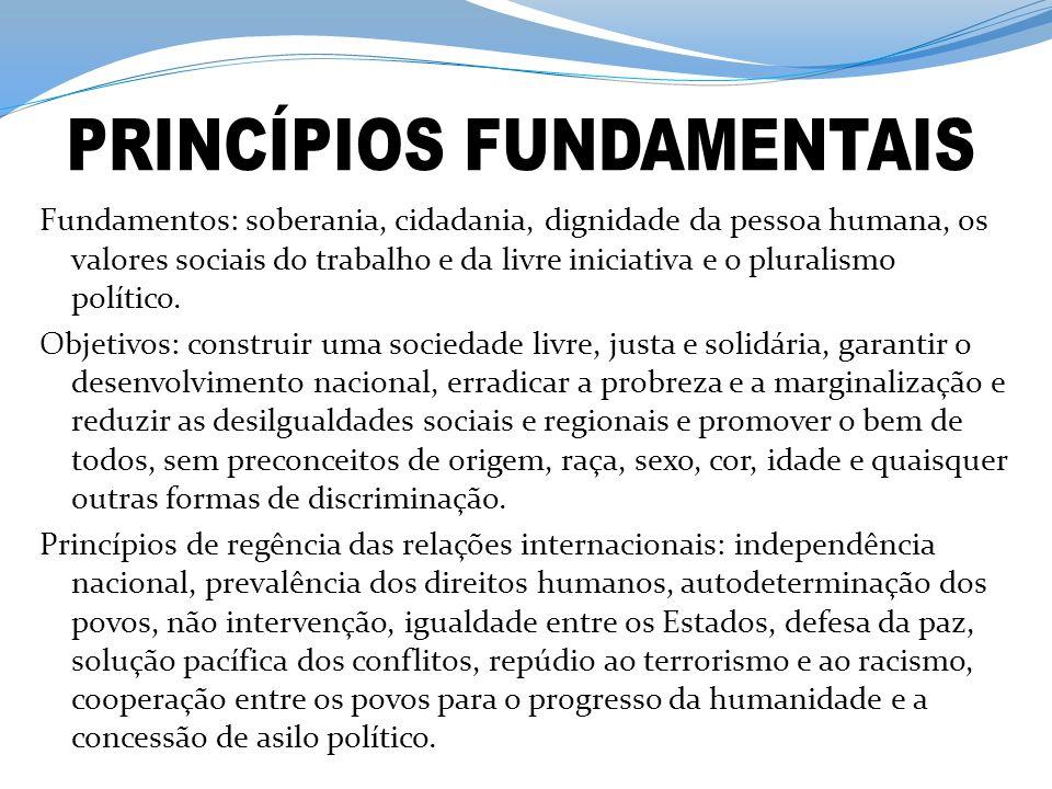 Fundamentos: soberania, cidadania, dignidade da pessoa humana, os valores sociais do trabalho e da livre iniciativa e o pluralismo político. Objetivos