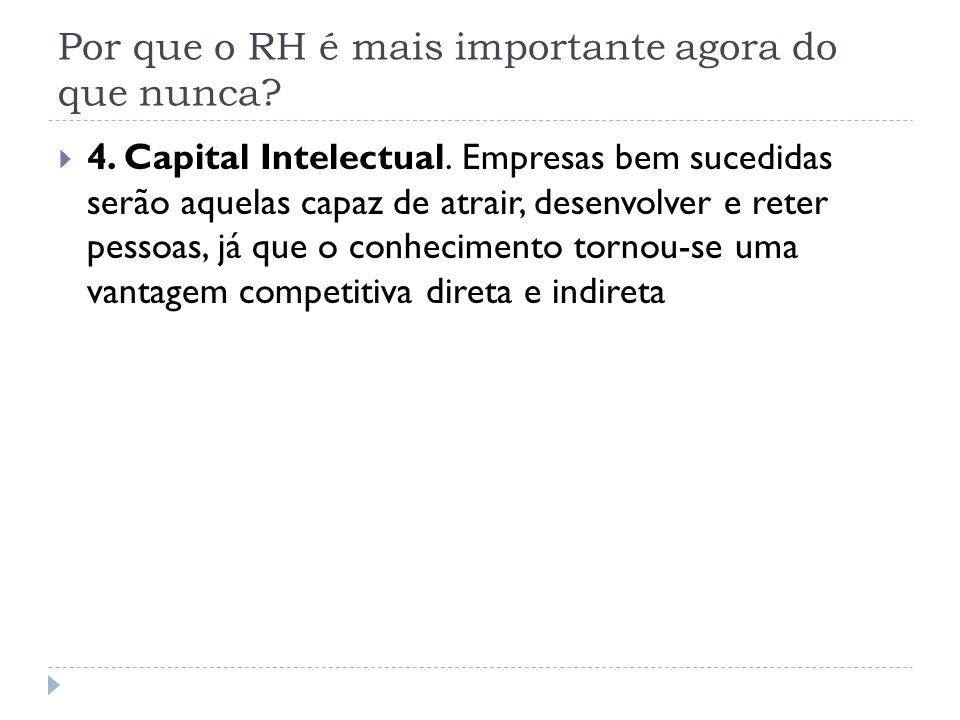 Por que o RH é mais importante agora do que nunca? 4. Capital Intelectual. Empresas bem sucedidas serão aquelas capaz de atrair, desenvolver e reter p