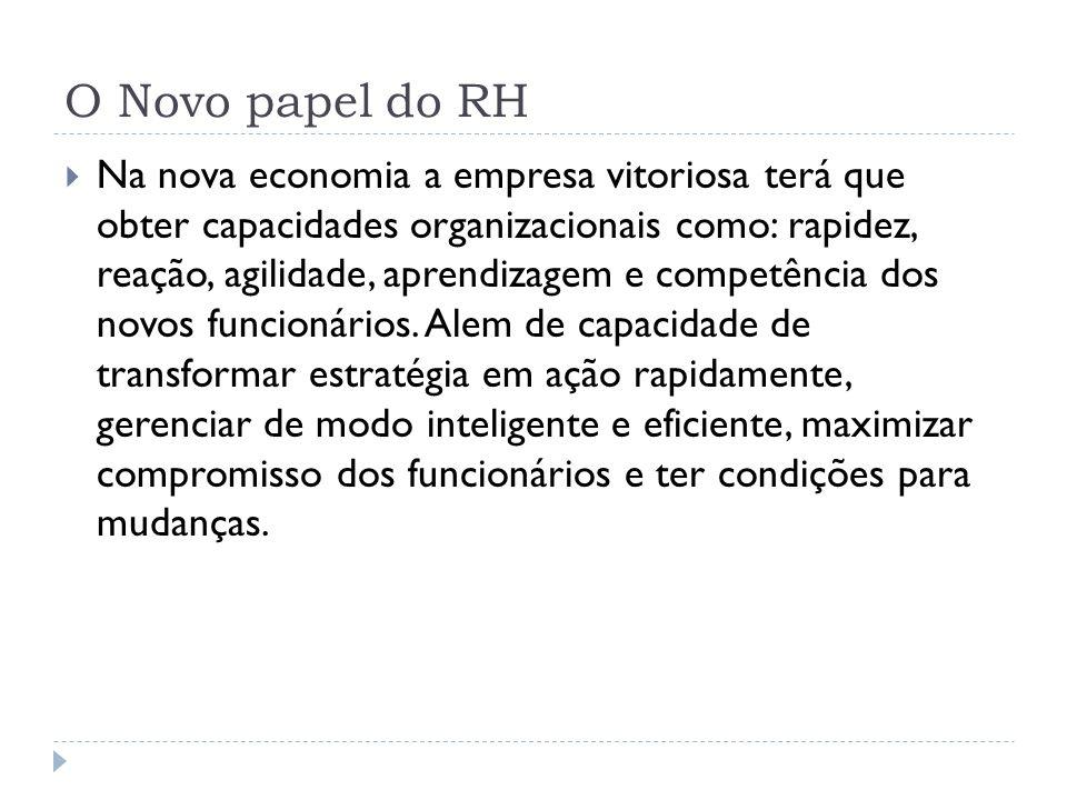 O Novo papel do RH Na nova economia a empresa vitoriosa terá que obter capacidades organizacionais como: rapidez, reação, agilidade, aprendizagem e co
