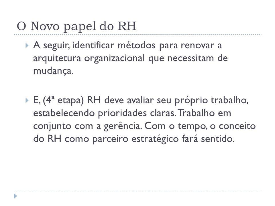 O Novo papel do RH A seguir, identificar métodos para renovar a arquitetura organizacional que necessitam de mudança. E, (4ª etapa) RH deve avaliar se
