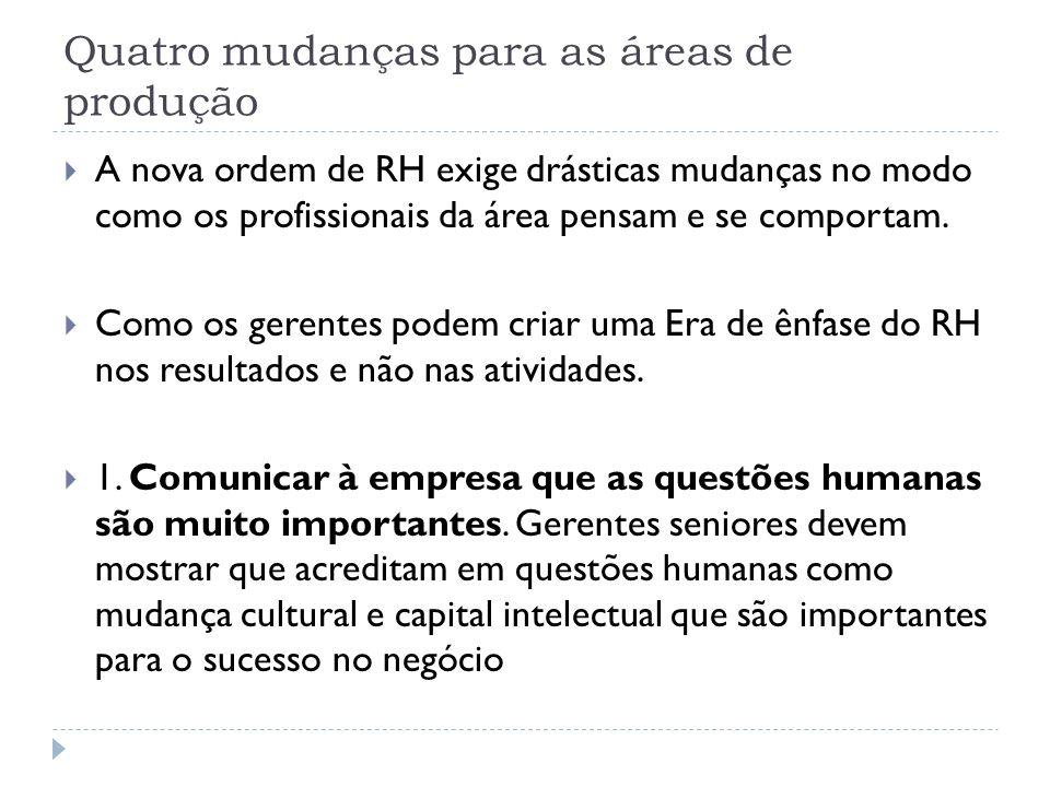 Quatro mudanças para as áreas de produção A nova ordem de RH exige drásticas mudanças no modo como os profissionais da área pensam e se comportam. Com