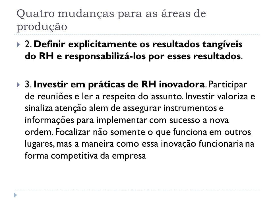 Quatro mudanças para as áreas de produção 2. Definir explicitamente os resultados tangíveis do RH e responsabilizá-los por esses resultados. 3. Invest