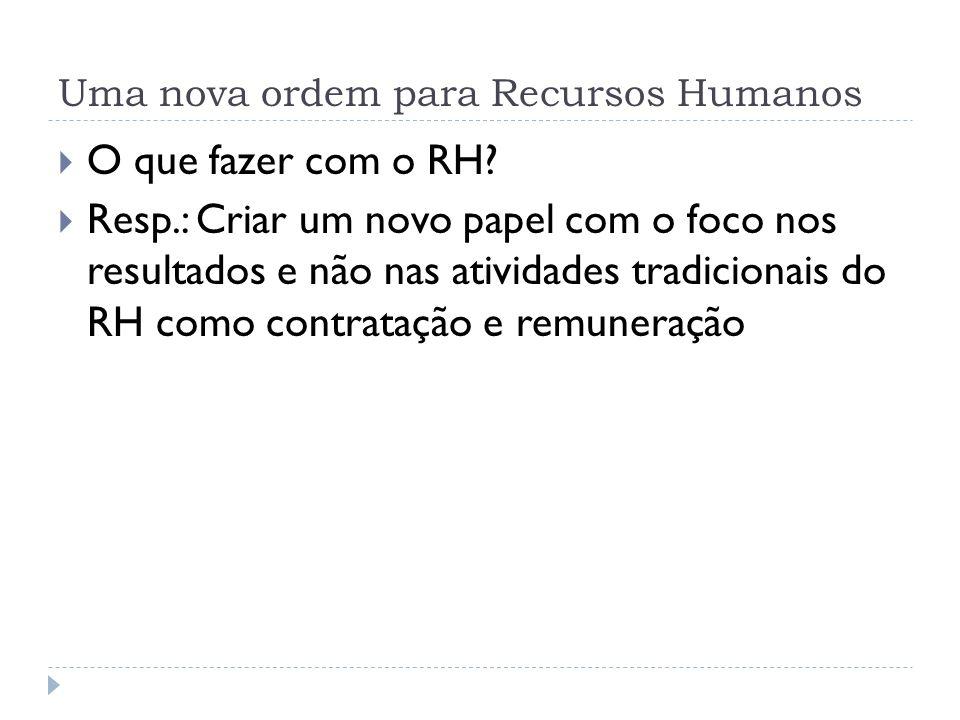 Uma nova ordem para Recursos Humanos O que fazer com o RH? Resp.: Criar um novo papel com o foco nos resultados e não nas atividades tradicionais do R