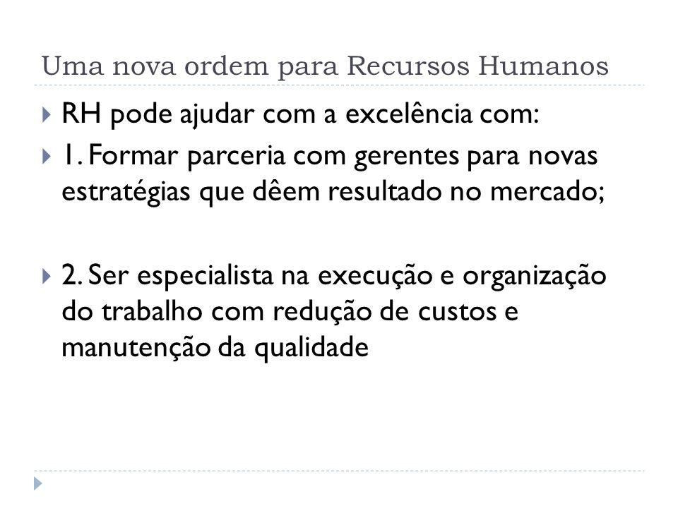 Uma nova ordem para Recursos Humanos RH pode ajudar com a excelência com: 1. Formar parceria com gerentes para novas estratégias que dêem resultado no