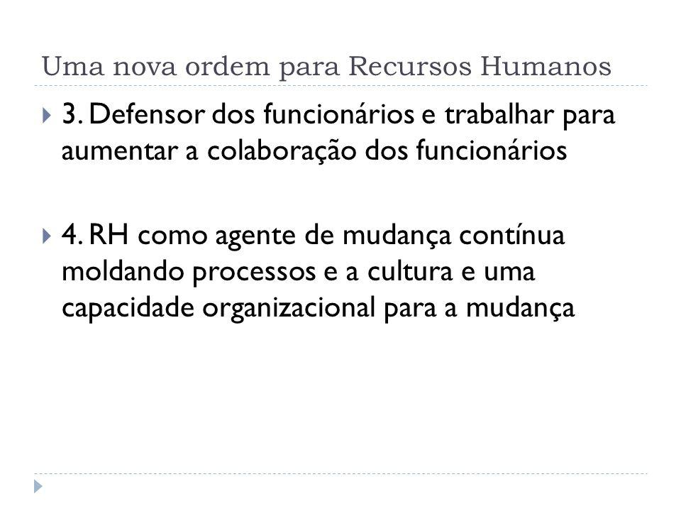 Uma nova ordem para Recursos Humanos 3. Defensor dos funcionários e trabalhar para aumentar a colaboração dos funcionários 4. RH como agente de mudanç