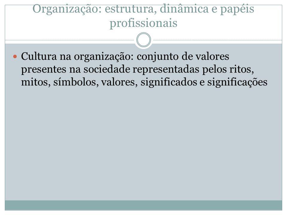Organização: estrutura, dinâmica e papéis profissionais Cultura na organização: conjunto de valores presentes na sociedade representadas pelos ritos,