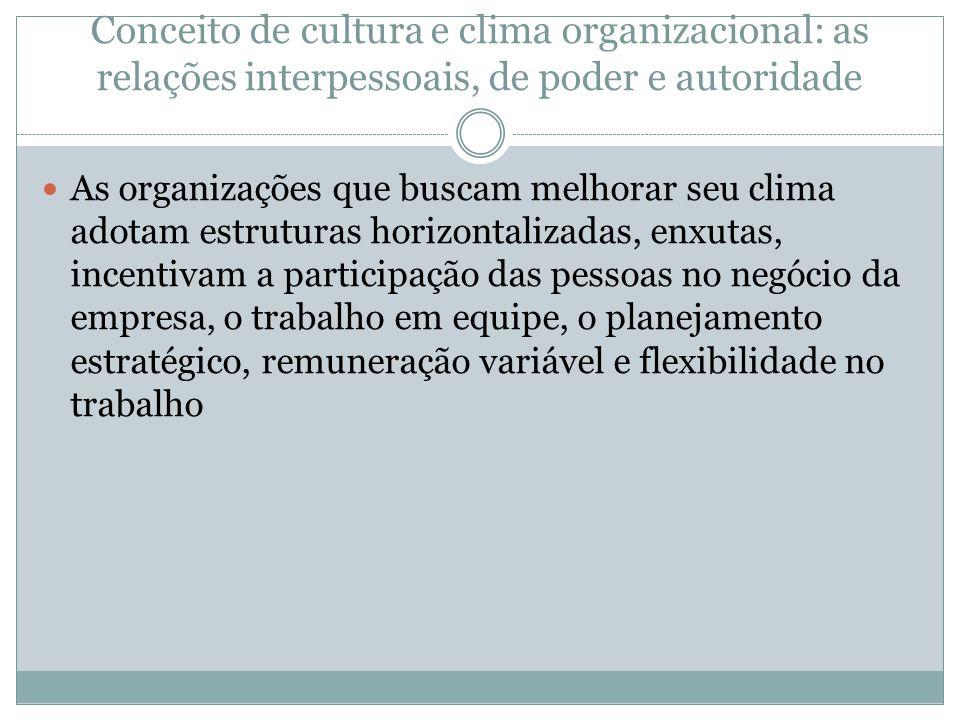 Conceito de cultura e clima organizacional: as relações interpessoais, de poder e autoridade As organizações que buscam melhorar seu clima adotam estr