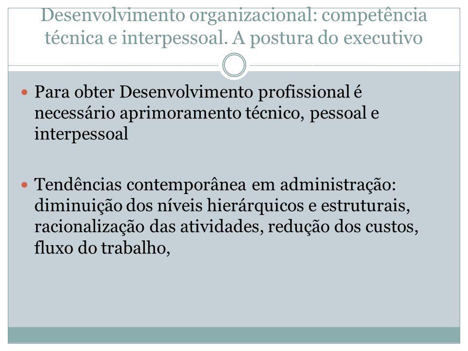 Desenvolvimento organizacional: competência técnica e interpessoal. A postura do executivo Para obter Desenvolvimento profissional é necessário aprimo