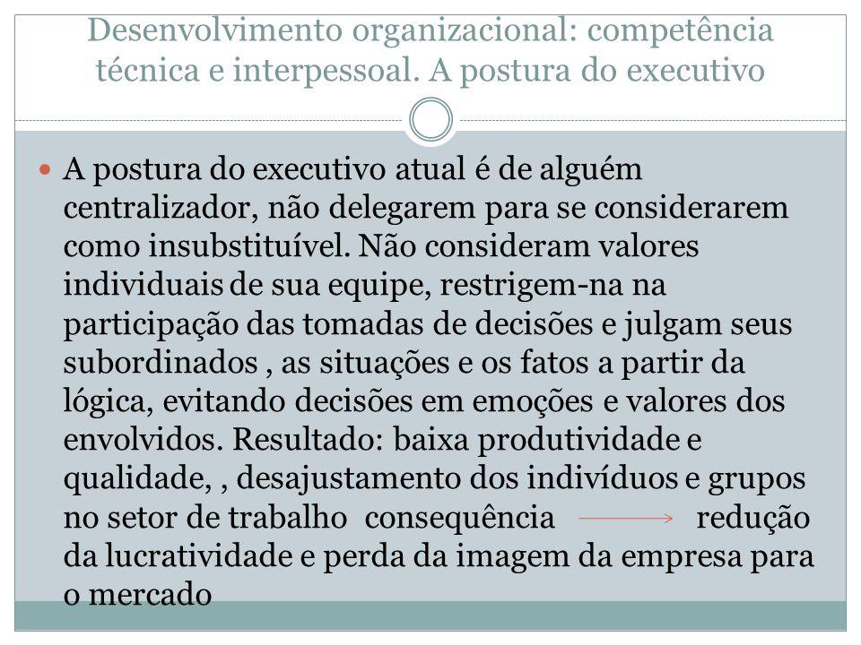 Desenvolvimento organizacional: competência técnica e interpessoal. A postura do executivo A postura do executivo atual é de alguém centralizador, não