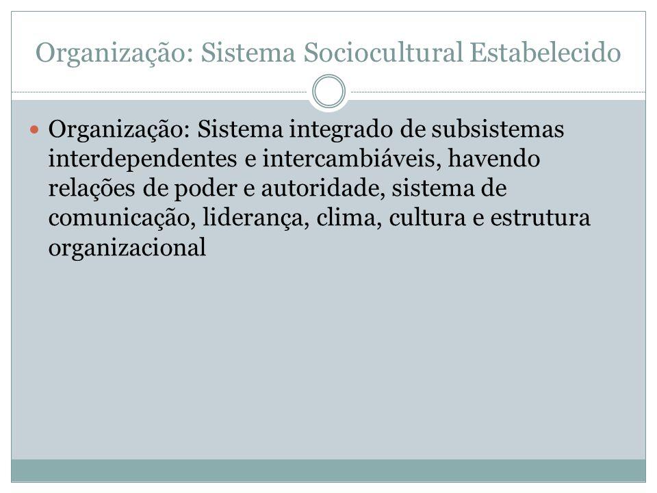 Organização: Sistema Sociocultural Estabelecido Organização: Sistema integrado de subsistemas interdependentes e intercambiáveis, havendo relações de